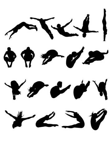 Silhouettes of jumping into the water, vector