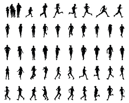 Black silhouettes of runners, vector Vettoriali