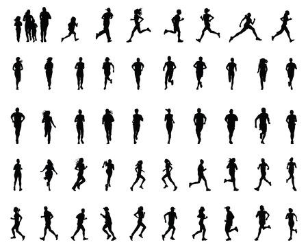 road runner: Siluetas negras de los corredores, vector