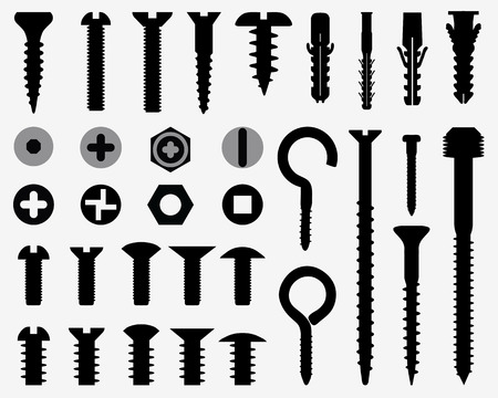 implement: Silhouettes of wall plugs, bolts, nuts and screws