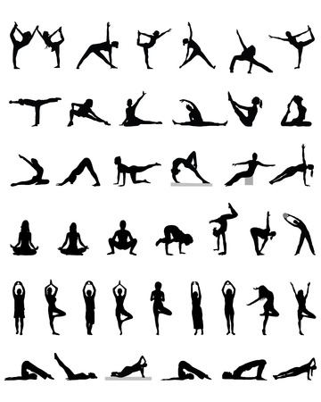 Black silhouettes of yoga and fitness, vector  イラスト・ベクター素材