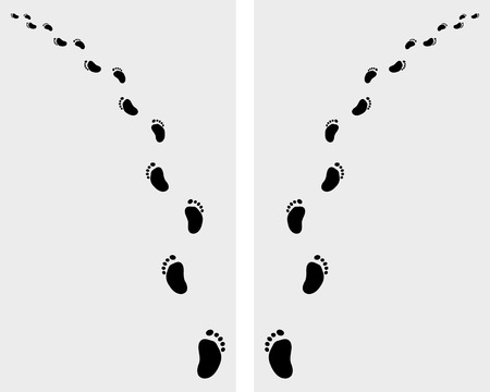 Black trail left and right of baby footsteps, vector Vector