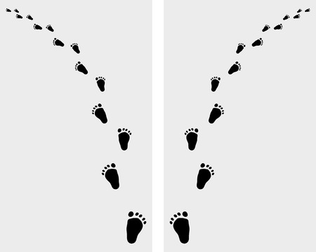 Black trail left and right of baby footsteps, vector
