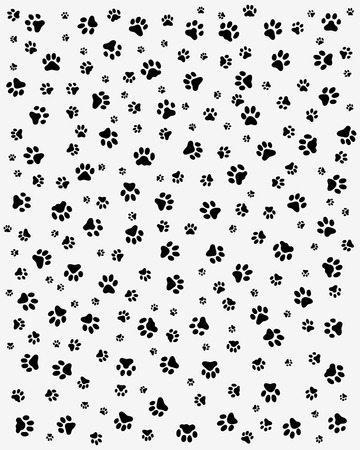 Black trace of cats, seamless vector wallpaper Ilustracja