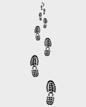 Camino de las huellas de los zapatos, ilustración vectorial