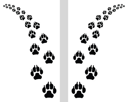 footstep: Trail left and right of footstep of dog, vector Illustration