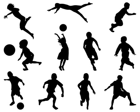 Silhouettes of children playing, vector Vettoriali