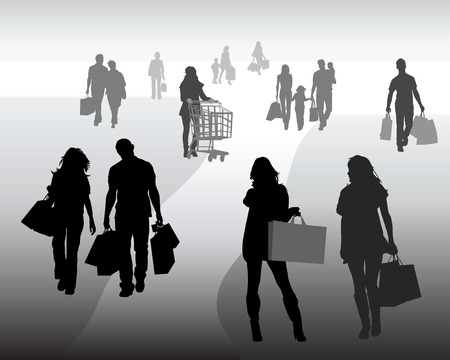 Silhouettes of shopping, vector