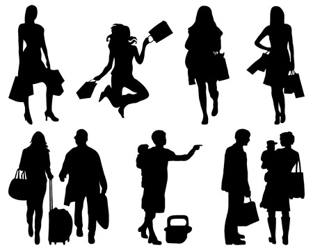 go to store: Silhouettes of people in shopping, vector