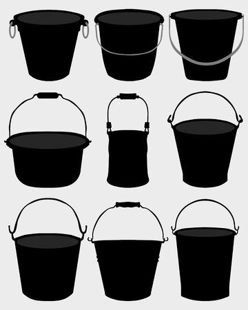 bin tub: Black silhouettes of garden buckets, vector Illustration