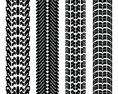 tread: Black prints of tread of cars, vector illustration