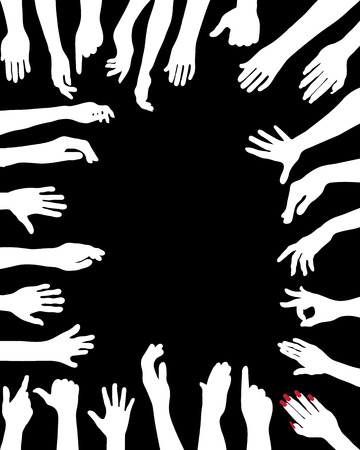 hi five: White silhouettes of hands, vector Illustration