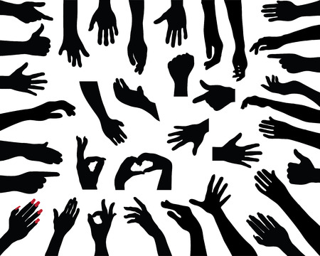 hello heart: Black silhouettes of hands, vector Illustration
