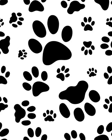Seamless pattern with black silhouettes of trace of cats, vector