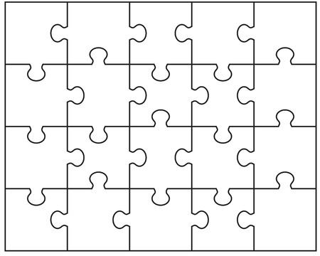Vector illustration of white puzzle, separate parts Vettoriali