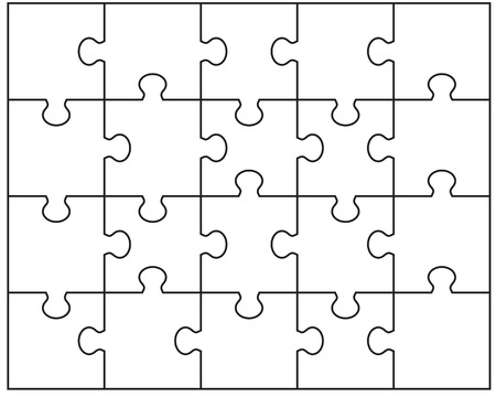 Vector illustration of white puzzle, separate parts Ilustração