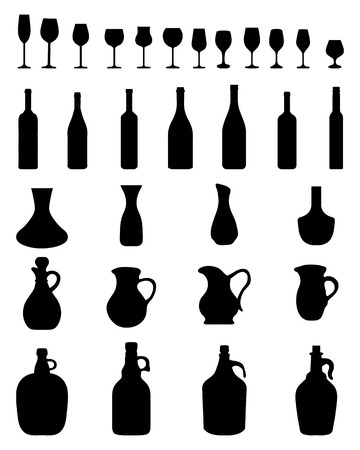 chardonnay: Black silhouettes of wine glasses and bottles, vector