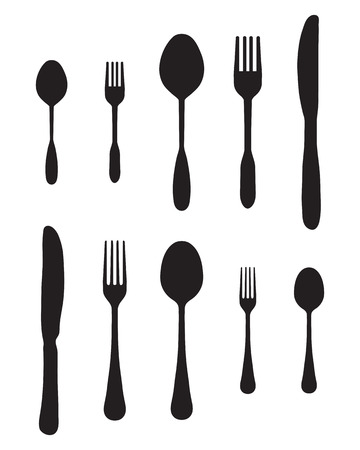 silver ware: Black silhouettes of cutlery, vector Illustration
