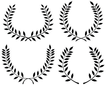 wreaths: Black silhouettes of laurel wreaths, vector illustration