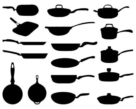 Zwarte silhouetten van een koekenpan, vector