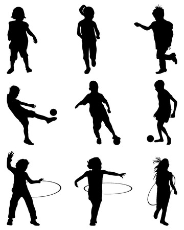 school boys: Silhouettes of children playing, vector Illustration