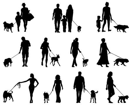 body guard: Black silhouettes  of people with dogs, vector