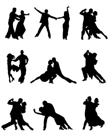 Silhouettes of tango players Vettoriali