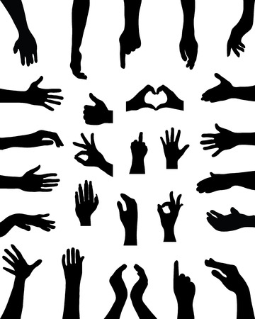 Black silhouettes of hands, vector Vettoriali