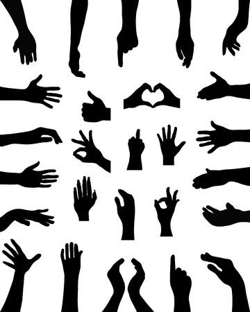Zwarte silhouetten van handen, vector