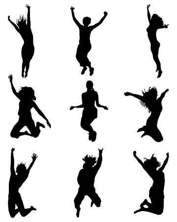 Silhouettes of people wich jumping and flying, vector