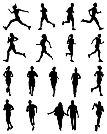 pentathlon: Black silhouettes of runners, vector Illustration