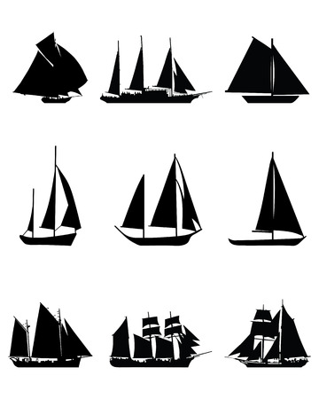 brigantine: Black silhouettes of sailing boats, vector