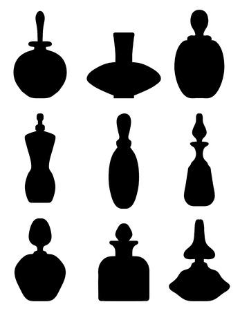 eau de perfume: Black silhouettes of perfume bottles, vector