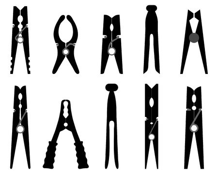 Black silhouettes of different clothespins, vector