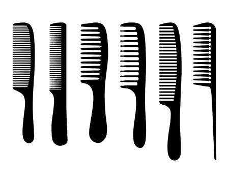 haircutting: Black silhouettes of different combs, vector Illustration
