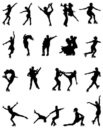 skaters: Black silhouettes of figure skaters, vector