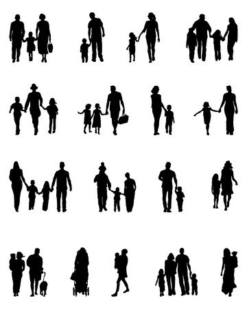 young group: Black silhouettes of families in walk, vector
