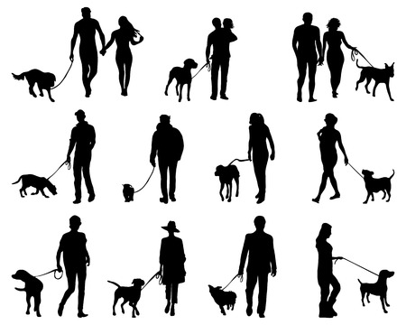 black people: Black silhouettes of people with dog, vector Illustration