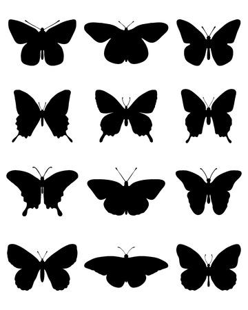 mariposa caricatura: Siluetas negras de diferentes mariposas, ilustración vectorial