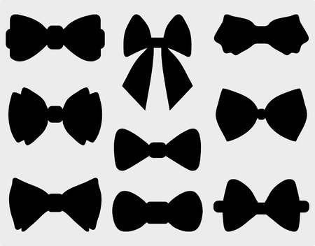 prom: Black silhouettes of bow ties, vector