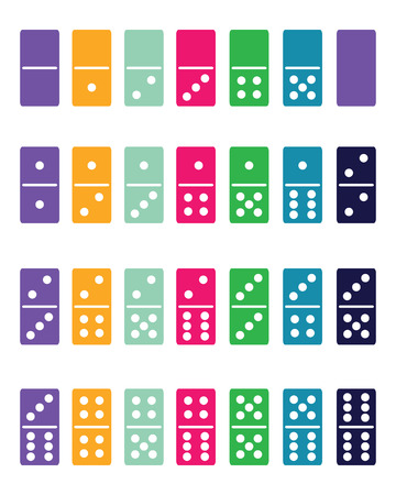 Full set of colorful domino, vector illustration