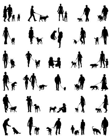 patas de perros: Negro siluetas de personas con perro, vector