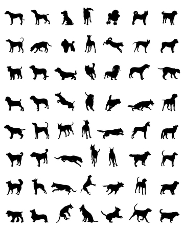 Different black silhouettes of dogs, vector  イラスト・ベクター素材