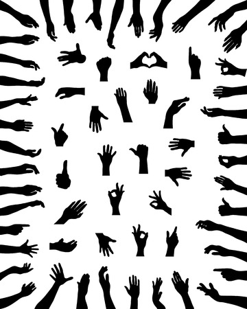 hand sign: Black silhouettes of various positions of hands, vector Illustration