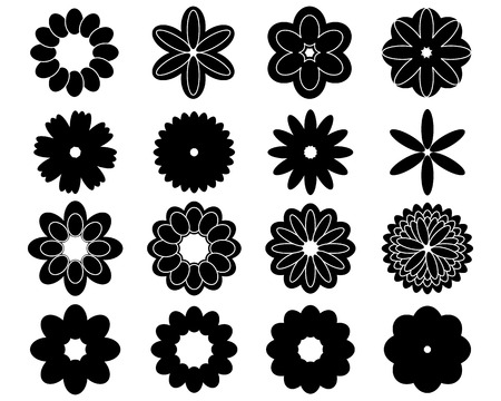 flower shape: Black silhouettes of sixteen simple vector flowers