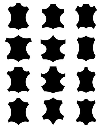 different shapes: Leather sign in different shapes, black silhouettes Illustration