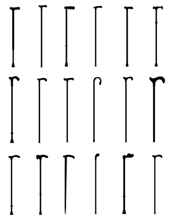 Black silhouettes of walking sticks, vector