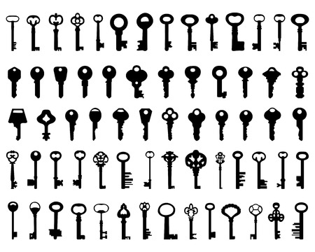 latchkey: Set of black silhouettes of door keys, vector Illustration