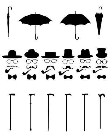 whisker characters: Gentleman icon set, isolated vintage and retro