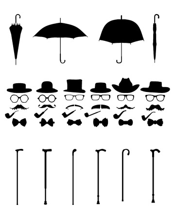 fake mustaches: Gentleman icon set Illustration